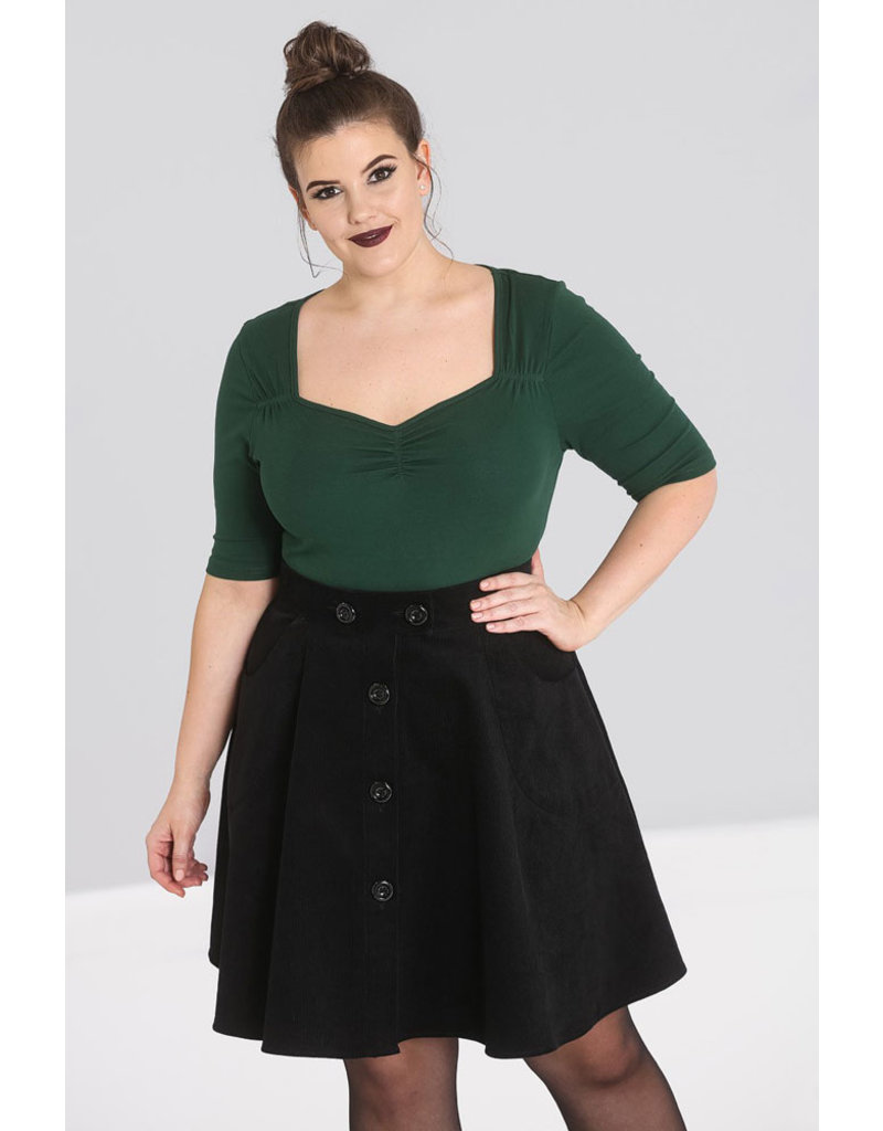 Hell Bunny Hell Bunny 1950s Philippa Forest Green Top