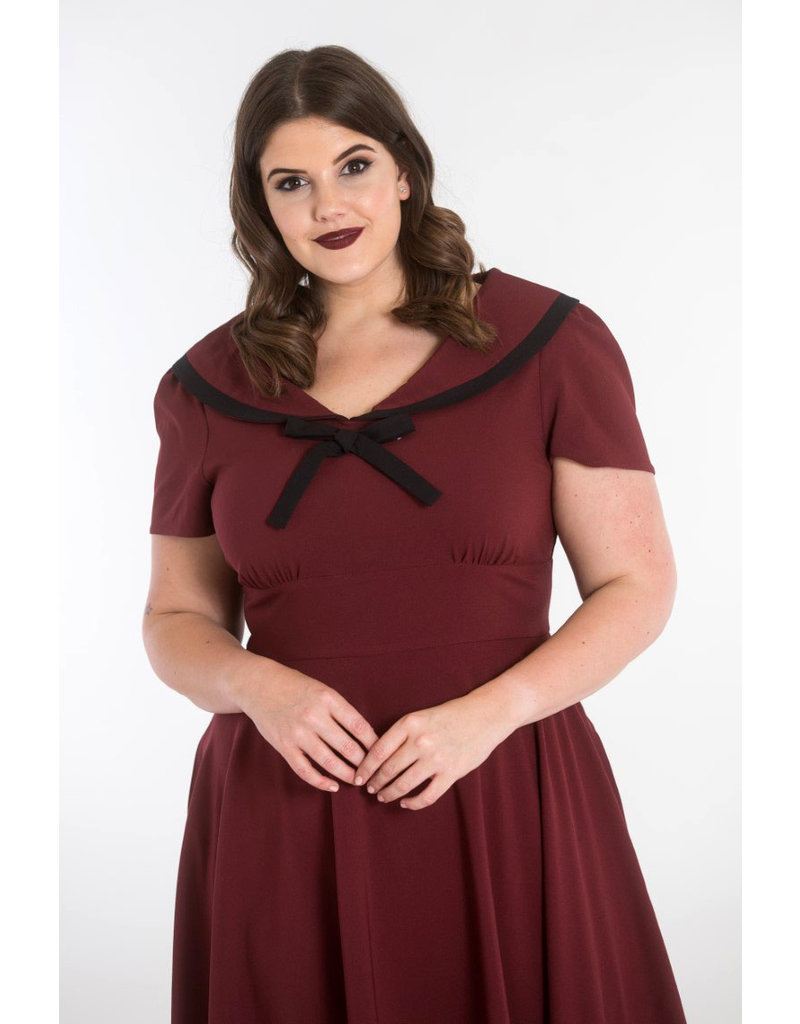 Hell Bunny Hell Bunny 1940s Thea Burgundy Dress