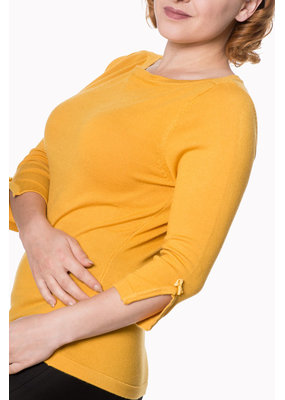 Banned Dancing Days 1950s Addicted Boatneck Jumper Mustard