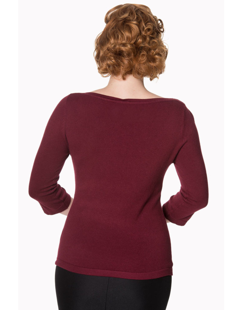 Banned Dancing Days 1950s Addicted Boatneck Jumper Bordeaux