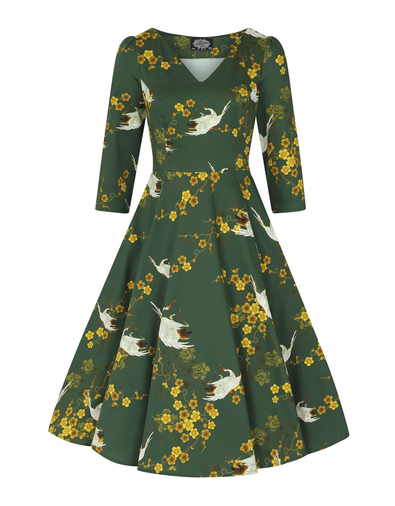 Hearts and Roses Hearts & Roses 1950s Green Blossom Swing Dress