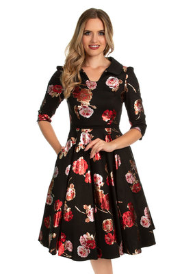 Hearts and Roses Hearts & Roses 1950s Bella Rose Metallic Swing Dress