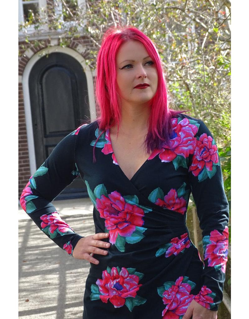 Lien & Giel Lien en Giel 40s Style Buenos Aires Big Roses Black Dress