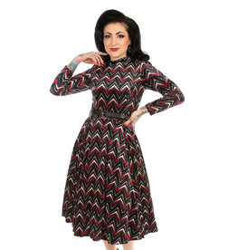 Hearts and Roses Hearts & Roses 1950s Chevron Velvet Swing Dress
