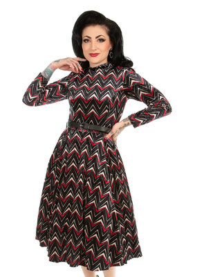 Hearts and Roses Hearts & Roses 1950s Chevron Velvet Swing Dress