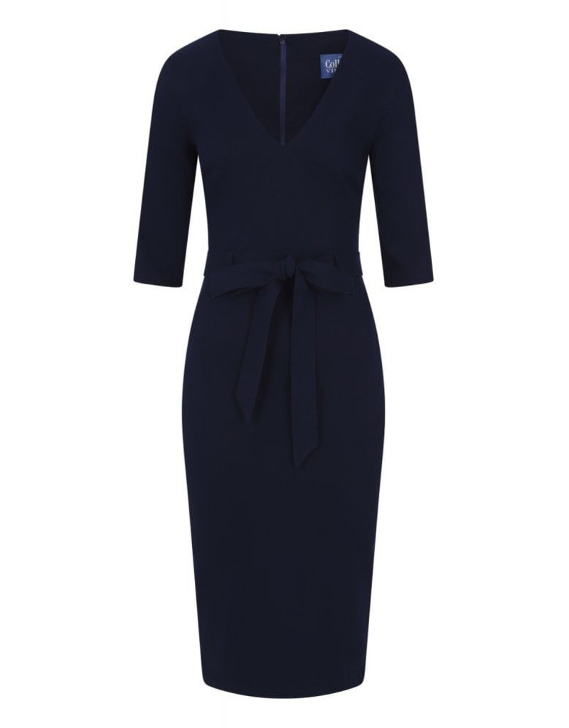 Collectif Collectif 1940s Meadow Pencil Dress Navy