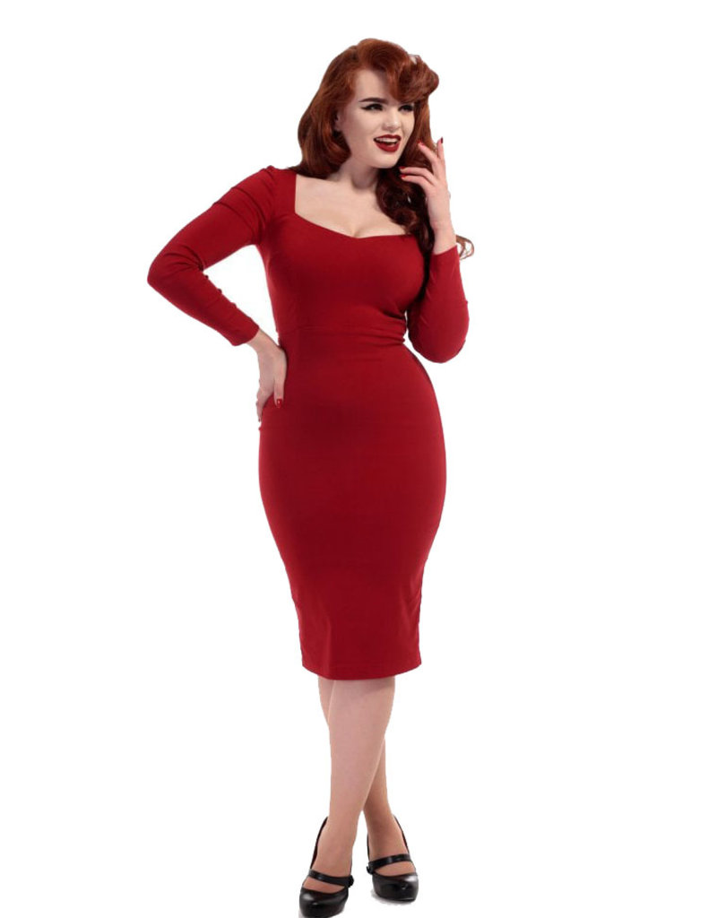Collectif Collectif 1950s Helene Sweetheart Pencil Dress Red