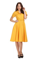Collectif Collectif 1950s Caterina Yellow Swing Dress
