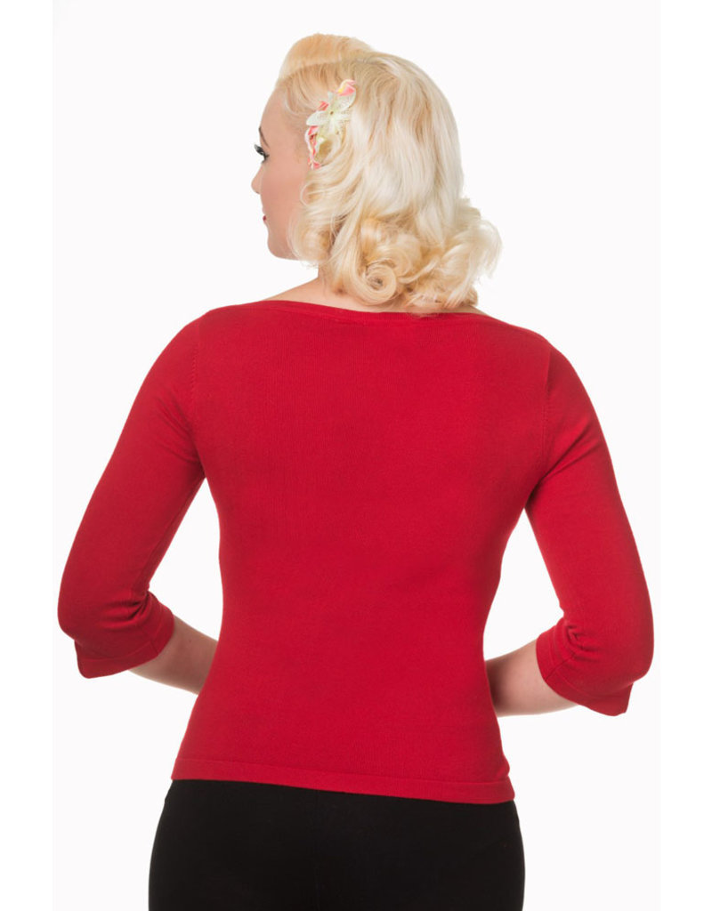 Banned Dancing Days 1950s Addicted Boatneck Jumper Red