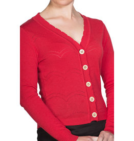 Banned Dancing Days 50s June Pointelle Cardigan Red