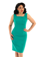 Hearts and Roses Hearts & Roses 1960s Diana Wiggle Dress Turquoise