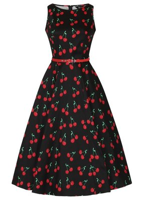 Lady V London Lady Vintage 1950s Hepburn Cherry Black Dress