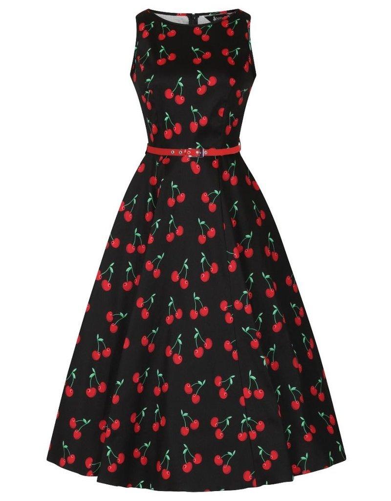 Lady V London Lady Vintage1950s Hepburn Cherry Black Dress