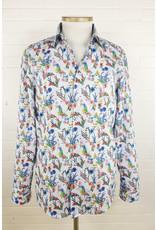 Haupt Haupt Regular Floral Blue Dots Mens Shirt
