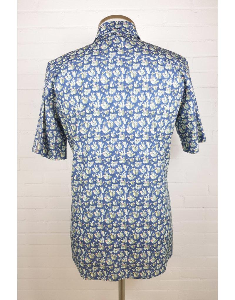 Haupt Haupt Short Sleeve Cactus Blue Mens Shirt