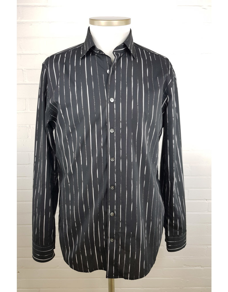 Haupt Haupt Regular Fit Black Striped Mens Shirt