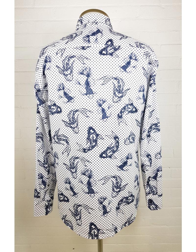 Haupt Haupt Regular Blue Koi Dots Mens Shirt