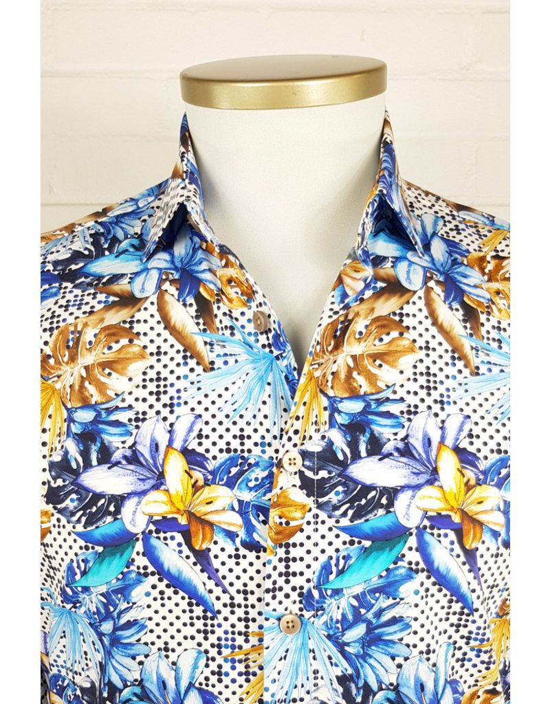 Haupt Haupt Tropical Blue Floral Mens Shirt