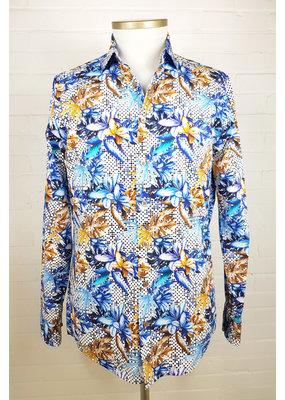 Haupt Haupt Tropical Blue Floral Mens Shirt