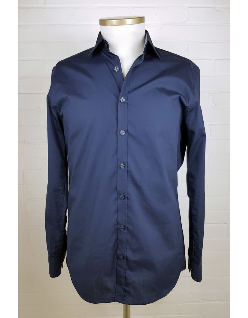 Haupt Haupt Regular Fit Navy Leaves Mens Shirt