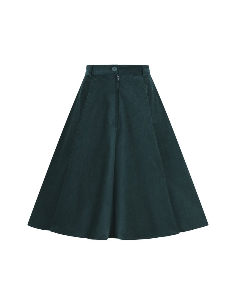 Hell Bunny PRE ORDER Hell Bunny Jefferson Corduroy Skirt Green