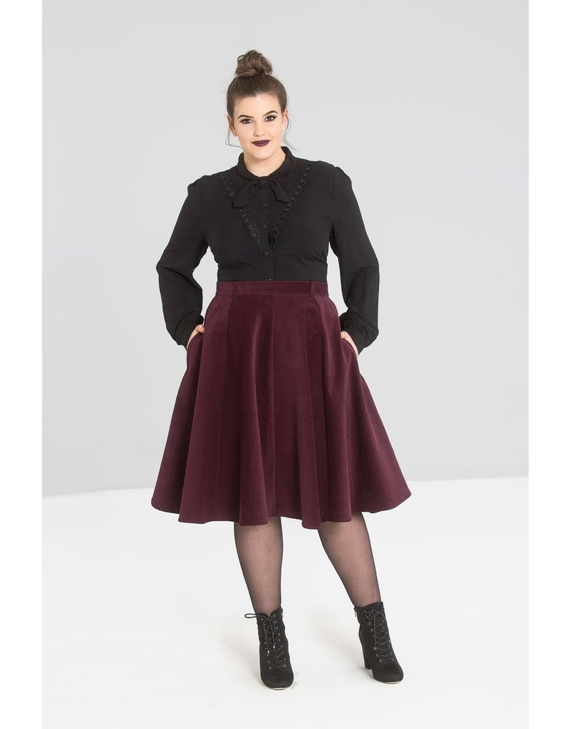 Hell Bunny PRE ORDER Hell Bunny Jefferson Corduroy Skirt Wine