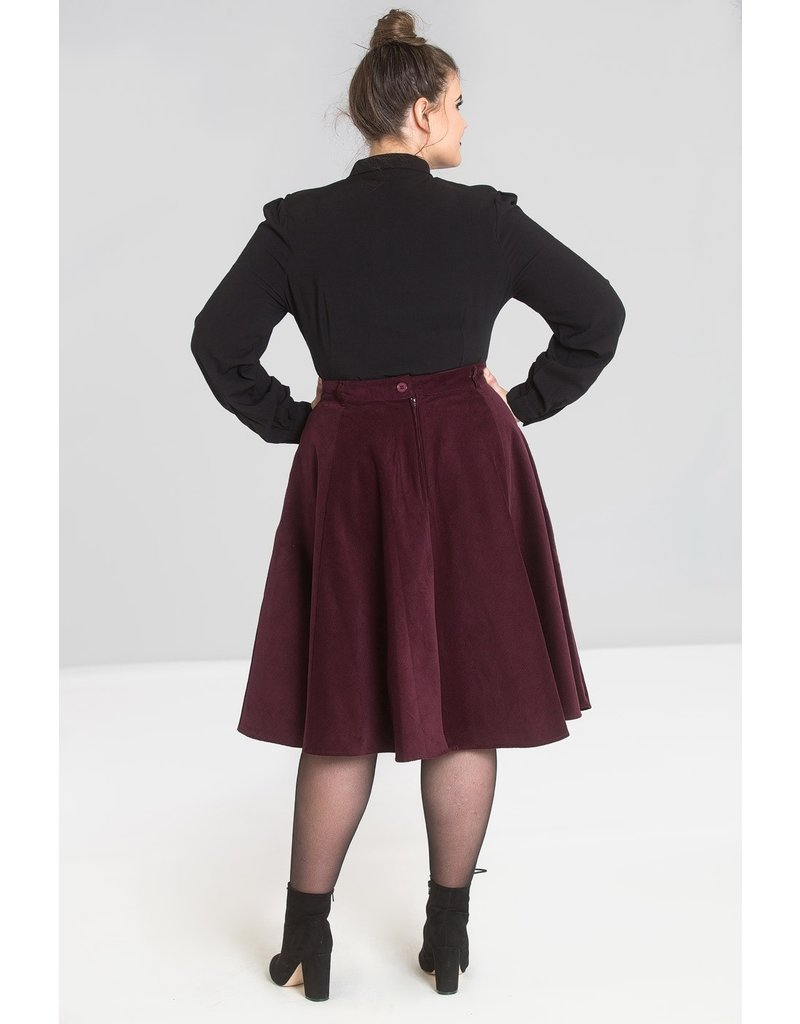 Hell Bunny SPECIAL ORDER Hell Bunny Jefferson Corduroy Skirt Wine