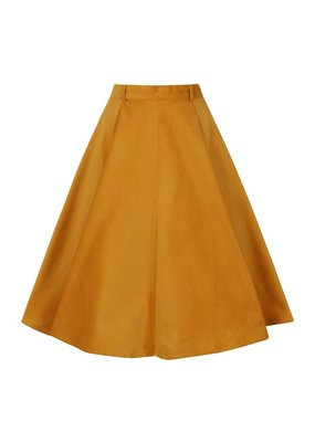 Hell Bunny PRE ORDER Hell Bunny Jefferson Corduroy Skirt Mustard