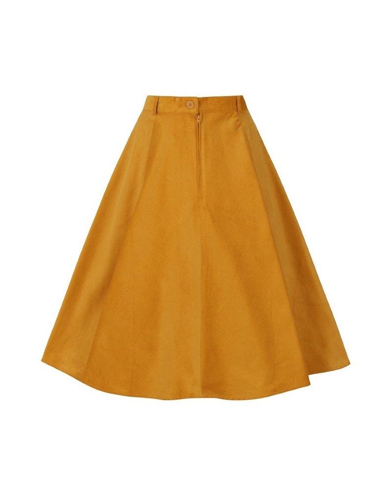 Hell Bunny PRE ORDER Hell Bunny Jefferson Corduroy Skirt Mustard
