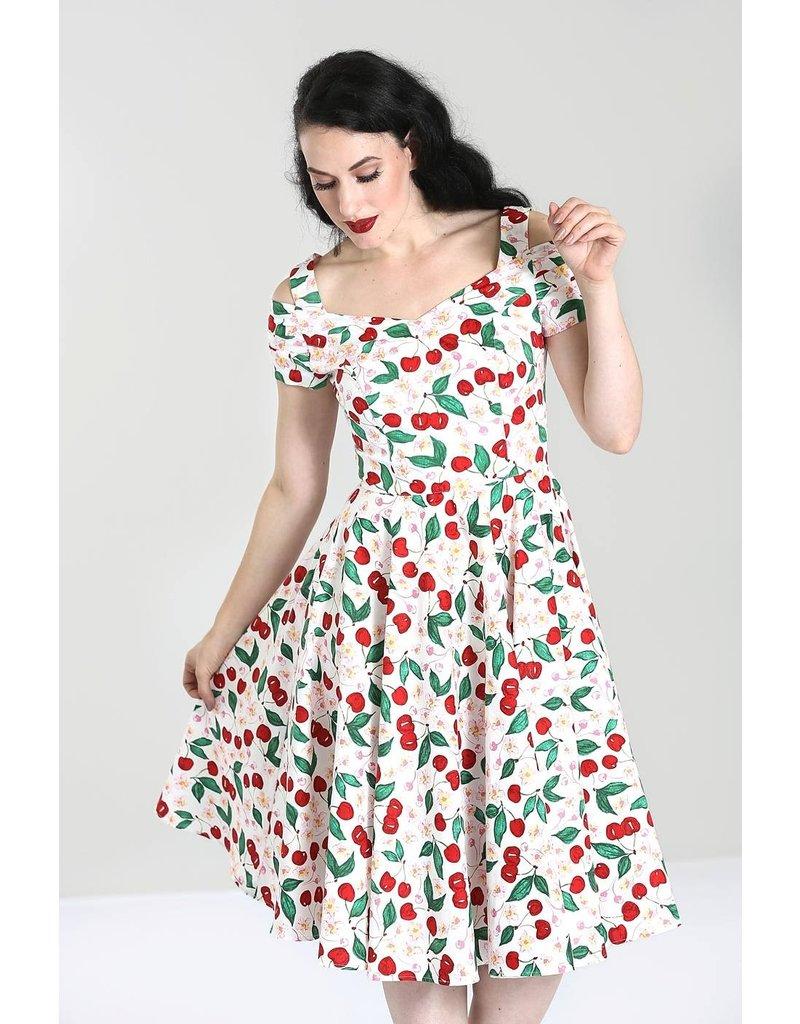 Hell Bunny PRE ORDER Hell Bunny Yvette 50s White Cherry Dress