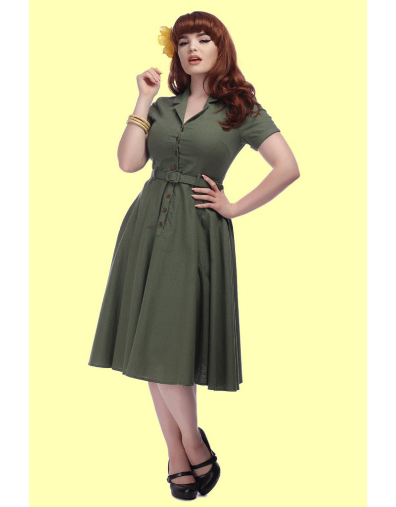 Collectif Collectif Caterina Vintage Swing Dress Olive