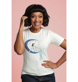 Collectif Collectif 1950s Blue Moon Art Deco T-Shirt