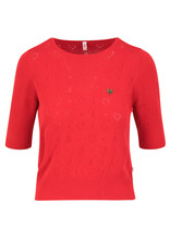 Blutsgeschwister Blutsgeschwister 40s Pointelle Heart Shirt Red