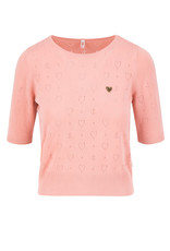 Blutsgeschwister Blutsgeschwister 40s Pointelle Heart Shirt Pink