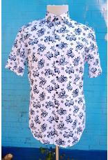 Haupt Haupt Summer Blue Hibiscus Short Sleeve Mens Shirt