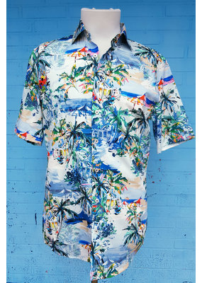 Haupt Haupt Tropical Island Short Sleeve Mens Shirt