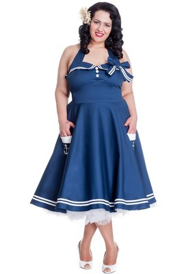Hell Bunny Hell Bunny 1940s Motley Dress Navy