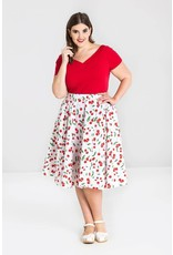 Hell Bunny Hell Bunny Sweetie Cherry 50s Skirt White