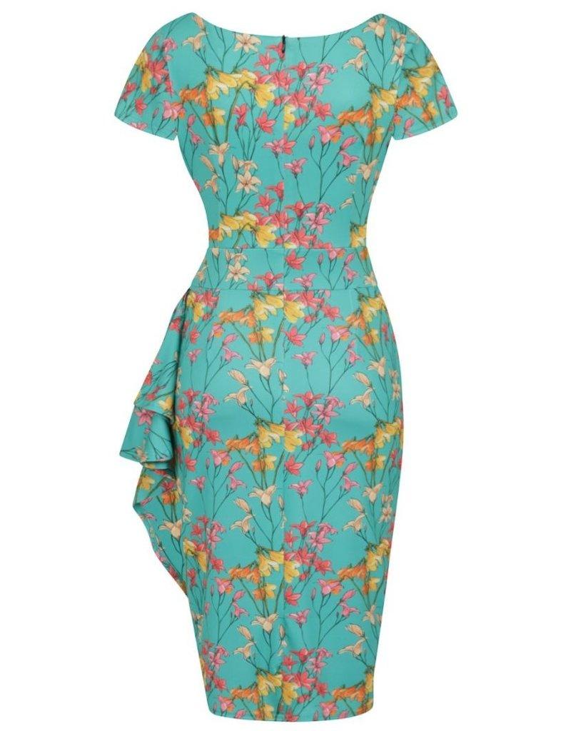 Lady V London Lady Vintage 1950s Elsie Whispy Teal Dress