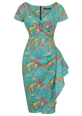 Lady V London Lady Vintage 1950s Elsie Whispy Teal Dress