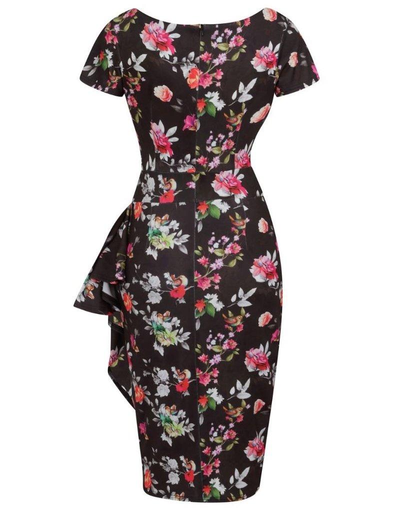 Lady V London Lady Vintage 1950s Elsie Silver Floral Dress