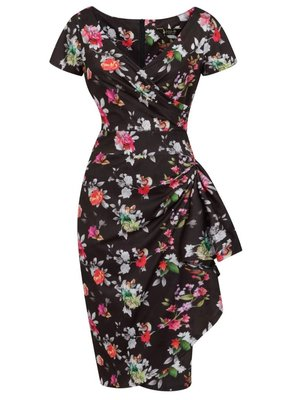Lady V London Lady Vintage 1950s Elsie Silver Floral Dress