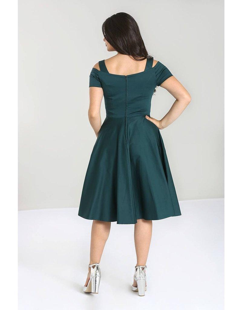 Hell Bunny Hell Bunny Helen 50s Dress Dark Green