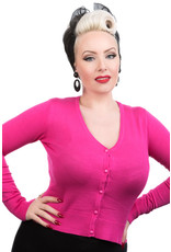 Hearts and Roses Hearts & Roses 50s V-Neck Cardigan Hot Pink