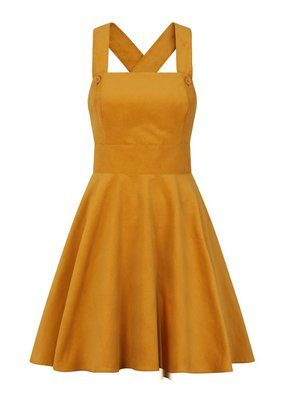 Hell Bunny PRE ORDER Hell Bunny Wonder Years Pinafore Dress Mustard