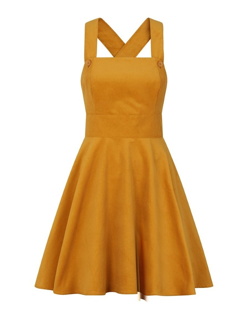 Hell Bunny SPECIAL ORDER Hell Bunny Wonder Years Pinafore Dress Mustard