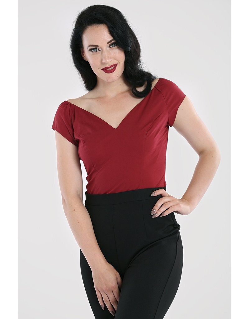 Hell Bunny SPECIAL ORDER Hell Bunny Petunia Top Burgundy