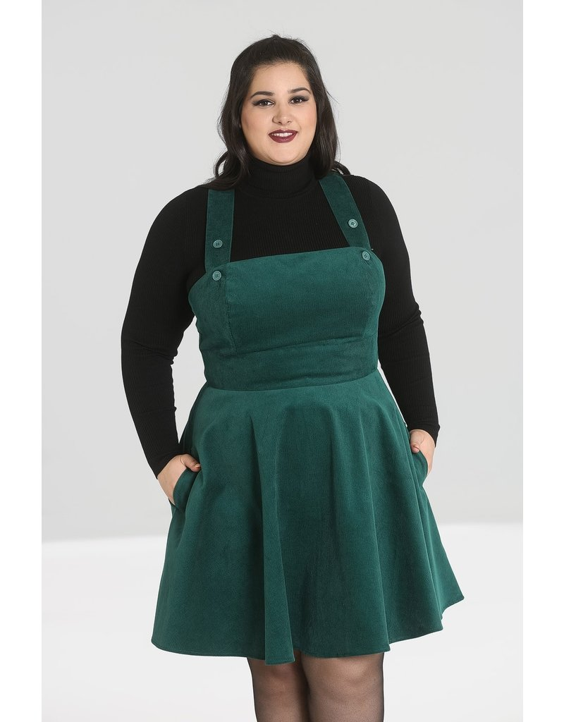 Hell Bunny PRE ORDER Hell Bunny Wonder Years Pinafore Dress Green