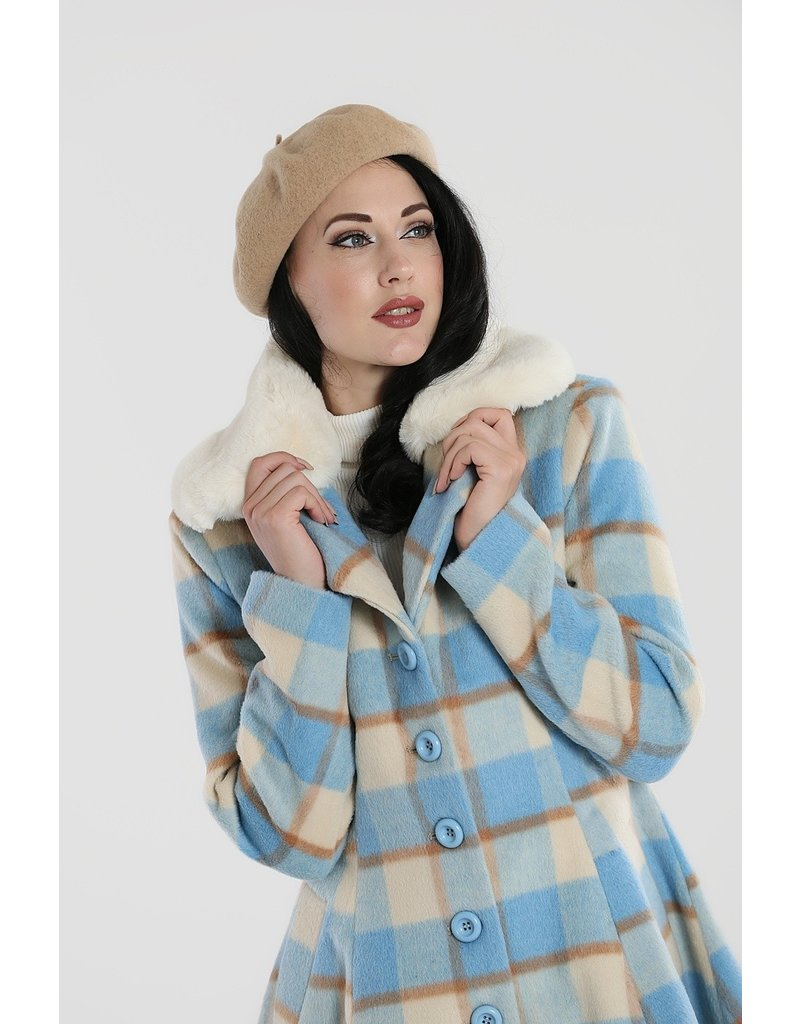 Hell Bunny PRE ORDER Hell Bunny Millicent Checked Coat Blue