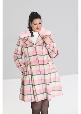 Hell Bunny SPECIAL ORDER Hell Bunny Millicent Checked Coat Pink
